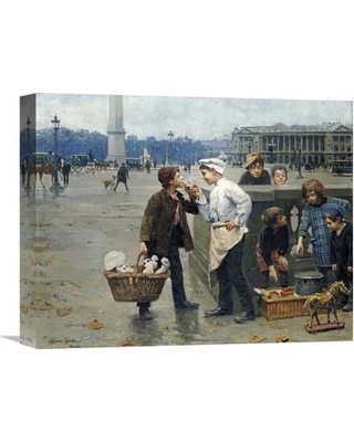 "Global Gallery 'The Little Traders' by Paul Charles Chocarne-Moreau Painting Print on Wrapped Canvas GCS-267857- Size: 12.72"" H x 16"" W x 1.5"" D"