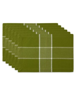 Design Imports Fiesta Check Placemats in Green (Set of 6)