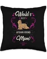 Rasocity World's Best Afghan Hound Mom Dog Breed Owner Throw Pillow, 16x16, Multicolor