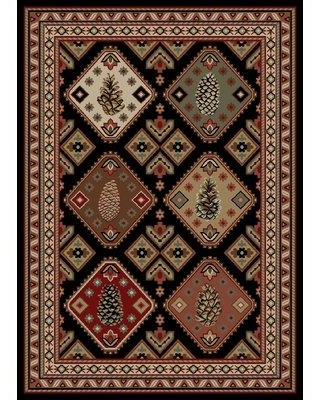 Millwood Pines Seagle Black/Brown Area Rug W000324905 Rug Size: Rectangle 2' x 3'