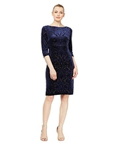 S.L. Fashions Women's Lace and Sequin Fit and Flare Dress, Sapphire, 18