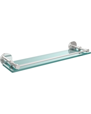 Allied Brass 22 in. L x 3 in. H x 5 in. W Clear Glass Bathroom Shelf with Gallery Rail in Polished Chrome