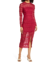 Saylor Suzie Long Sleeve Cotton Blend Lace Sheath Midi Dress, Size Large in Red Bud at Nordstrom