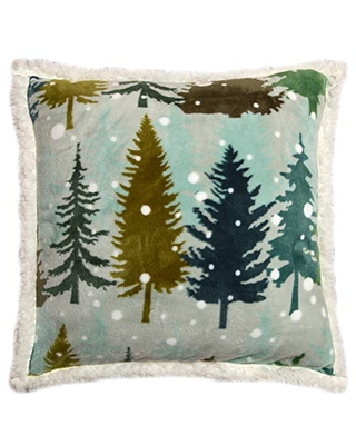 Carstens, Inc. Snowflake Forest Throw Pillow, Brown