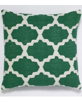 India's Heritage Cotton Woven Throw Pillow INHR1380 Color: Dark Green