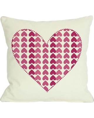 """One Bella Casa Repeating Heart Throw Pillow 70784PL Size: 26"""" x 26"""""""