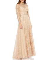 Women's MAC Duggal Floral Sequin Lace Long Sleeve A-Line Gown, Size 6 - Beige