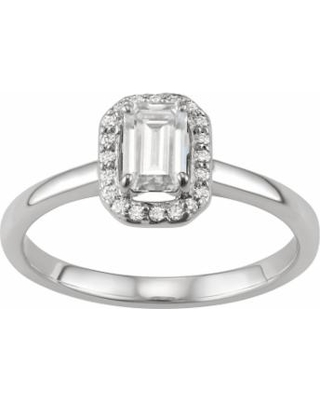 331910a44dbef Kohl's 14K White Gold Lab-Created Moissanite 5/8 Carat T.W. Emerald-Cut  Halo Ring, Women's from Kohl's | People