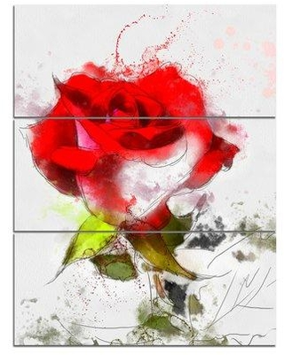 Design Art 'Hand-drawn Watercolor Rose Flower' 3 Piece Wall Art on Wrapped Canvas Set PT13602-3PV