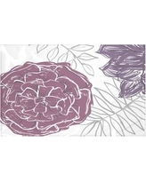 """e by design Flowers and Fronds Floral Print Throw Blanket HFN192 Size: 60"""" L x 50"""" W, Color: Larkspur (Purple)"""