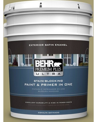 BEHR ULTRA 5 gal. #PPU9-04 Fresh Olive Satin Enamel Exterior Paint and Primer in One