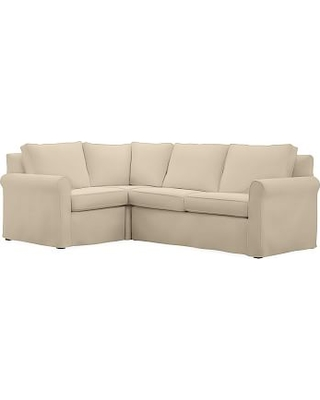 Cameron Roll Arm Slipcovered Right Arm 3-Piece Corner Sectional, Polyester Wrapped Cushions, Performance Everydayvelvet(TM) Buckwheat