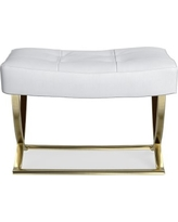 James Square Ottoman, Brass, Brushed Canvas, Solid, White