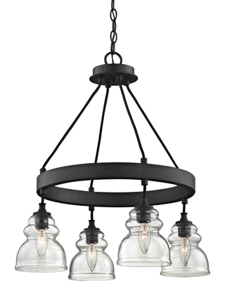 Fifth and Main Lighting Muncie 4-Light Corsican Bronze Pendant with Clear Glass