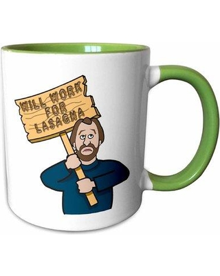East Urban Home Vaughn Funny Humorous Man Guy with a Sign Will Work for Lasagna Coffee Mug W000547937
