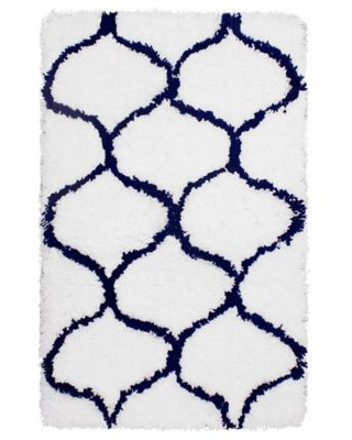 Vista Living Alfred Chunky Shag 2-Foot x 3-Foot Accent Rug in Indigo/White