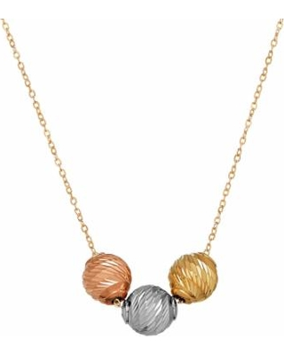Everlasting Gold Tri-Tone 10k Gold 3-Bead Necklace, Women's