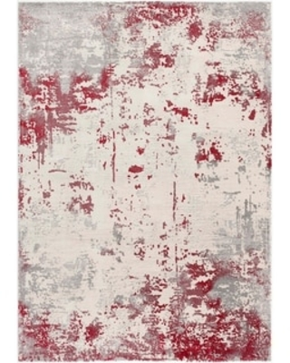 """Rug Branch Vogue Modern Abstract Area Rug (3'9"""" x 5'6"""" - Red Grey)"""