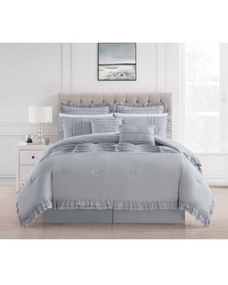Chic Home Yvie 12 Piece Comforter Set Ruffled Pleated Flange Border Design Bed In A Bag - Sheet Set Bed Skirt Decorative Pillows Shams Included, King, Gray