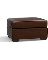 Pearce Leather Ottoman, Down Blend Wrapped Cushions, Leather Legacy Chocolate