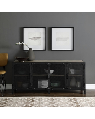 Walker Edison Furniture Company 60 in. Gray Wash Composite TV Stand 69 in. with Doors, Grey Wash
