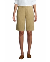 """Women's Mid Rise Elastic Waist Pull On 12"""" Chino Bermuda Shorts - Lands' End - Brown - 6"""