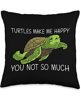 Best Tortoise Reptile & Bony Shell Species Designs Funny Gift for Men Women Sea Turtle Land Water Animal Throw Pillow, 16x16, Multicolor