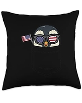 4th Of July Pillows Women Kids Fourth Animal Gifts Penguin Pocket American Flag USA 4th Of July Fourth Animal Throw Pillow, 18x18, Multicolor