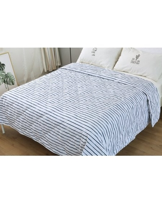 St. James Home Soft Cover Nano Feather Filled Blanket, White/Navy Stripes, Full/Queen