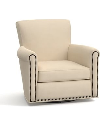 Irving Roll Arm Upholstered Swivel Armchair with Bronze Nailheads, Polyester Wrapped Cushions, Performance Everydayvelvet(TM) Buckwheat