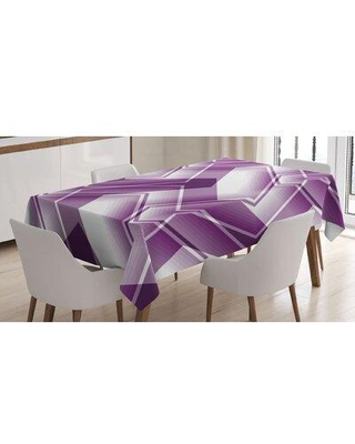 East Urban Home Trippy Digital Shapes Curved Lines Tablecloth FCLQ8069