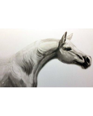 Union Rustic 'White Horse IV' Oil Painting Print on Wrapped Canvas BF027832