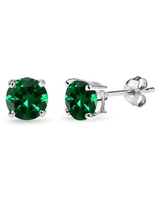 Simulated Emerald 6mm Round-Cut Solitaire Sterling Silver Stud Earrings
