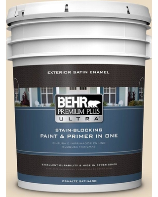 BEHR ULTRA 5 gal. #N290-2 Authentic Tan Satin Enamel Exterior Paint and Primer in One