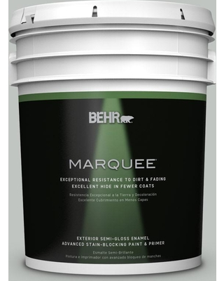 BEHR MARQUEE 5 gal. #PPU25-14 Engagement Silver Semi-Gloss Enamel Exterior Paint and Primer in One