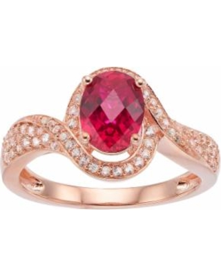 14k Rose Gold Over Silver Lab-Created Ruby & White Sapphire Halo Ring, Women's, Size: 7, Red