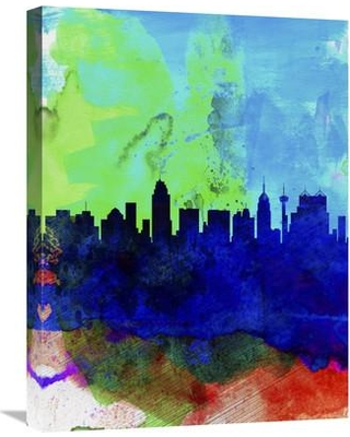 "Naxart 'San Antonio Watercolor Skyline' Painting Print on Wrapped Canvas NNAT1308 Size: 24"" H x 18"" W x 1.5"" D"