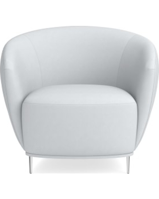 Alexis Pleated Chair, Brushed Canvas, White, Polished Nickel