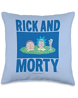 Rick and Morty Portal Heads Throw Pillow, 16x16, Multicolor
