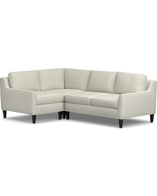Beverly Upholstered Left Arm 3-Piece Corner Sectional, Polyester Wrapped Cushions, Premium Performance Basketweave Pebble