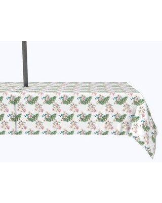 """Bloomsbury Market Vivo Watercolor Peacocks and Flowers Tablecloth X113021026 Size: 104"""" x 60"""""""