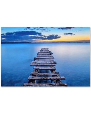 """Trademark Art 'Pier' Photographic Print on Wrapped Canvas 1X02334-C Size: 22"""" H x 32"""" W"""