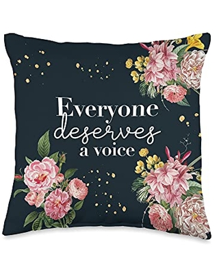 Speechie Designs For Therapists Co. Speech Language Pathologist Therapy SLP Every Deserve Voice Throw Pillow, 16x16, Multicolor