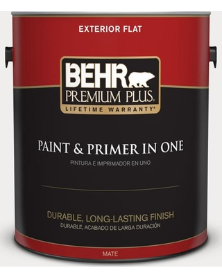 BEHR Premium Plus 1 gal. #pwn-53 White Mink Flat Exterior Paint and Primer in One