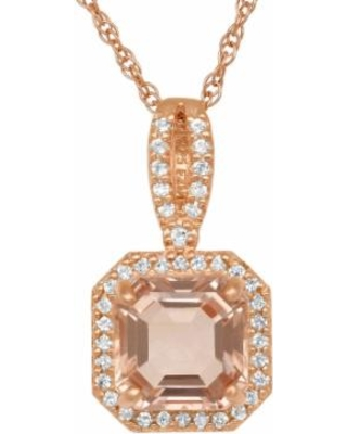 """""""14k Rose Gold Over Silver Simulated Morganite and Lab-Created White Sapphire Octagonal Halo Pendant, Women's, Size: 18"""", Pink"""""""