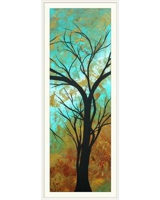 "Great Big Canvas 'Golden Fascination' by Megan Duncanson Graphic Art Print 1907602_1_12x36_none Size: 44"" H x 20"" W x 1"" D Format: White Framed"