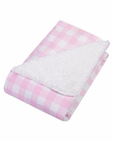 Buffalo Check Flannel and Sherpa Baby Blanket - Pink/White