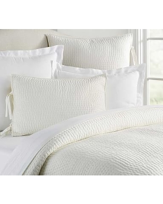Classic Ivory Pick-Stitch Handcrafted Cotton/Linen Quilt, King/Cal. King
