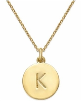 """Kate Spade New York 12k Gold-Plated Initials Pendant Necklace, 17"""" + 3"""" Extender - K"""