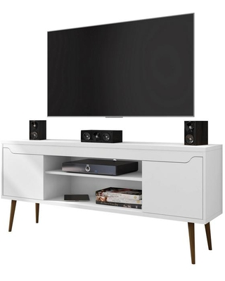 Shop Manhattan Comfort Bradley 63 In White Composite Tv Stand Fits Tvs Up To 60 In With Cable Management